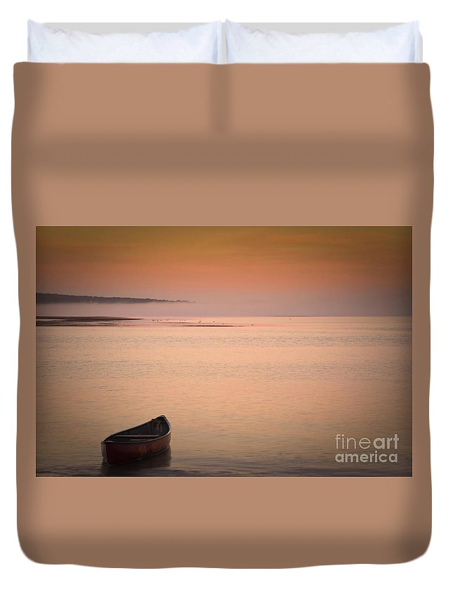 Sunrise Duvet Cover featuring the photograph Morning Sea Smoke by Brenda Giasson