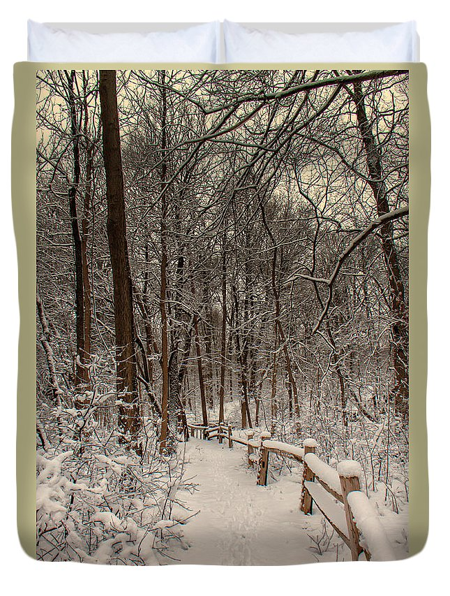 Winter Duvet Cover featuring the photograph Morning Snow Path by Lauri Novak