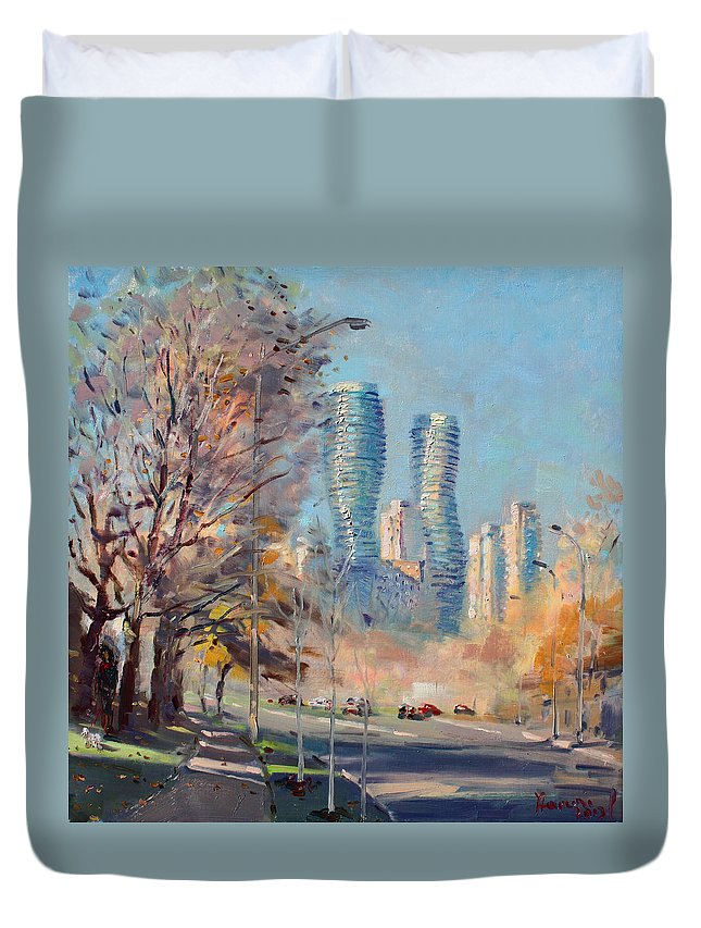 Mississauga Duvet Cover featuring the painting Morning Sunlight In Mississauga by Ylli Haruni