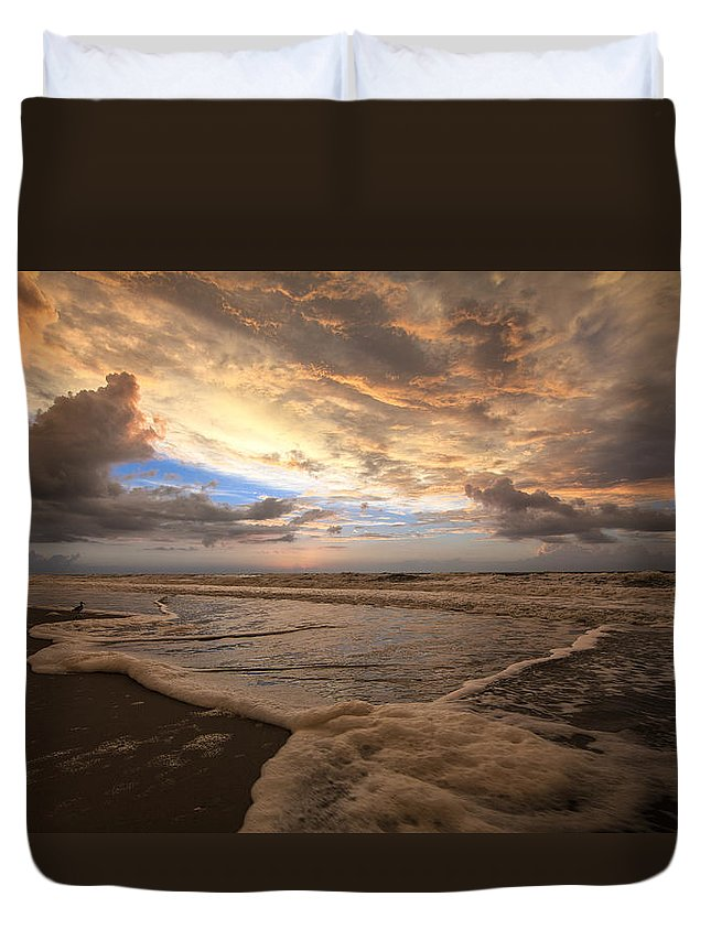 Dock Duvet Cover featuring the photograph Morning Surf by Everet Regal