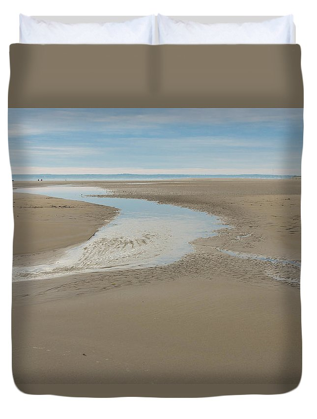 Sand Duvet Cover featuring the photograph Morning Walk At Crane Beach by David Stone