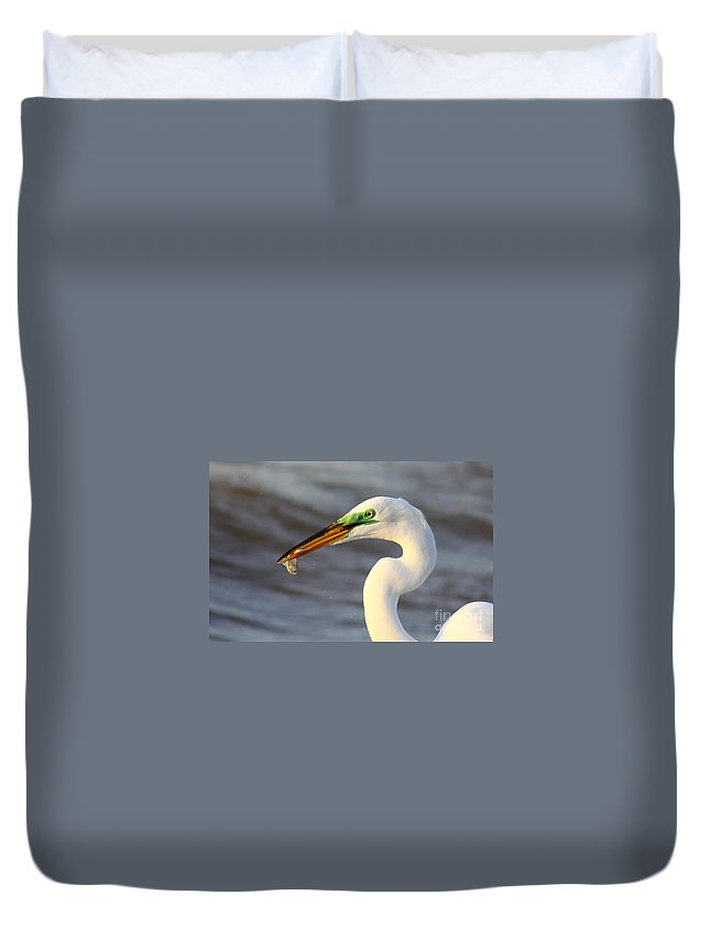 Animal Duvet Cover featuring the photograph Morning's Catch by Robert Frederick
