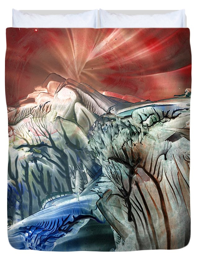 Wax Duvet Cover featuring the painting Morphing Obscure Horizons Into Shifting Emotions by Cristina Handrabur