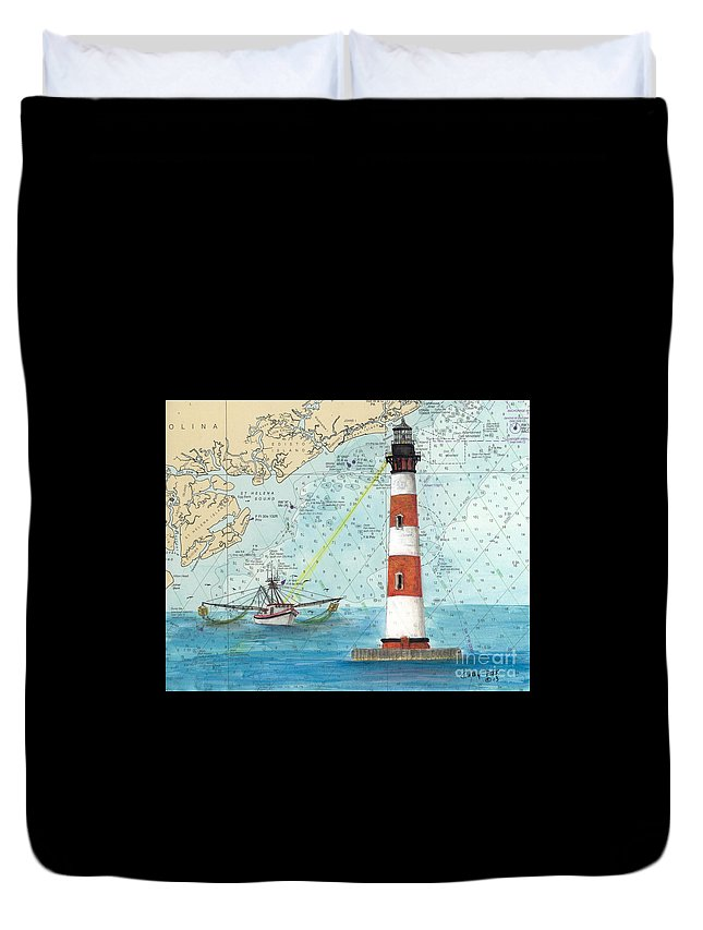Morris Duvet Cover featuring the painting Morris Island Lighthouse Sc Nautical Chart Map Art by Cathy Peek