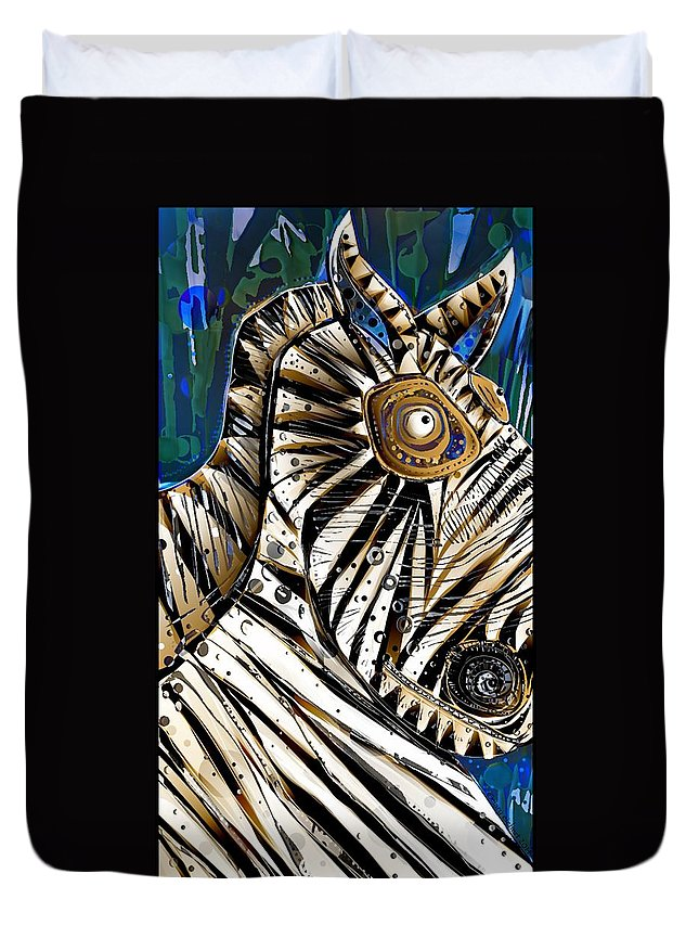 Zebra Duvet Cover featuring the digital art Morris by Mary Eichert