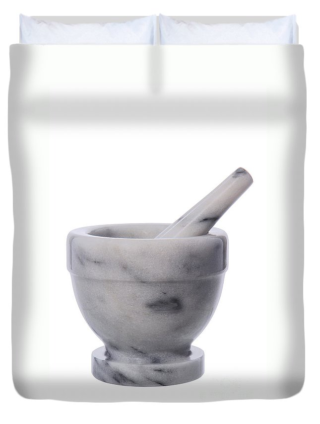 Mortar Duvet Cover featuring the photograph Mortar And Pestle by Olivier Le Queinec