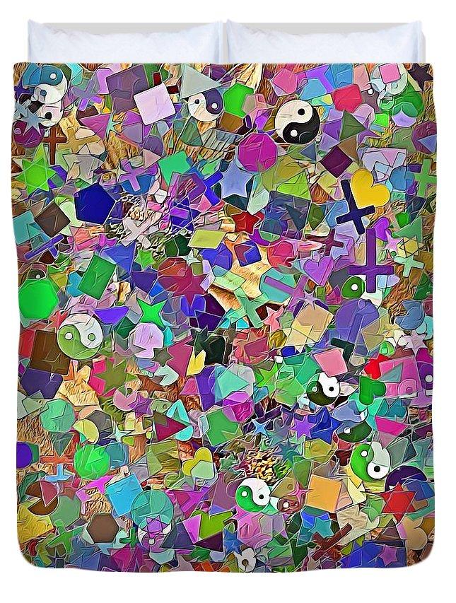 Abstract Duvet Cover featuring the digital art Mosaic 510-11-13 Marucii by Marek Lutek