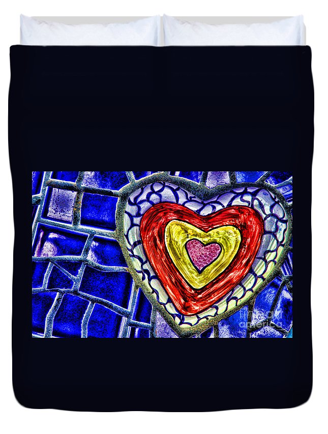 Mosaic Duvet Cover featuring the mixed media Mosaic Heart By Diana Sainz by Diana Raquel Sainz