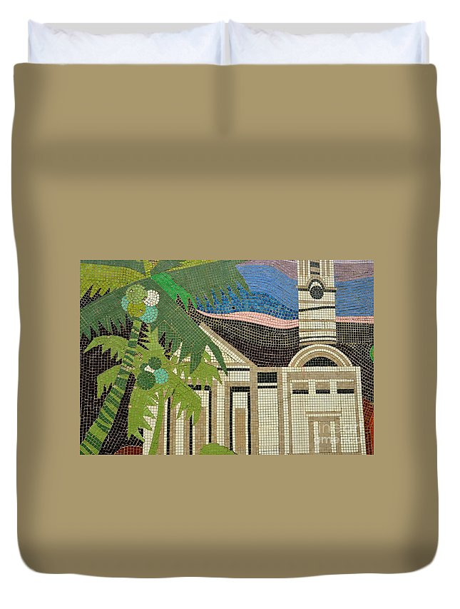 Square Duvet Cover featuring the photograph Mosaic Of Church With Palm Tree by Imran Ahmed