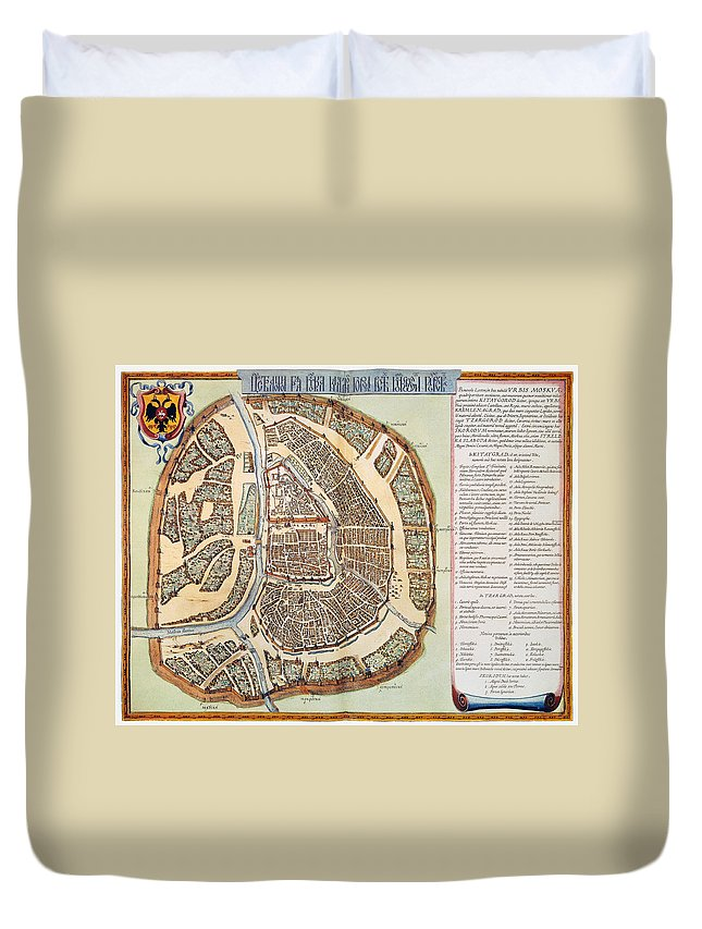 1662 Duvet Cover featuring the photograph Moscow: Map, 1662 by Granger