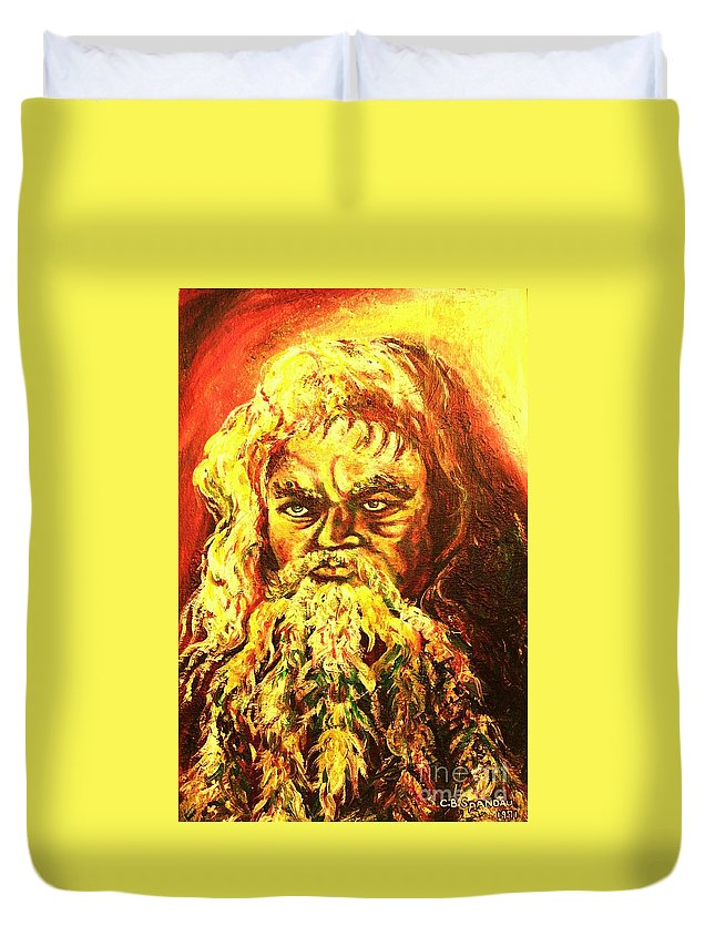 Moses Duvet Cover featuring the painting Moses At The Burning Bush by Carole Spandau