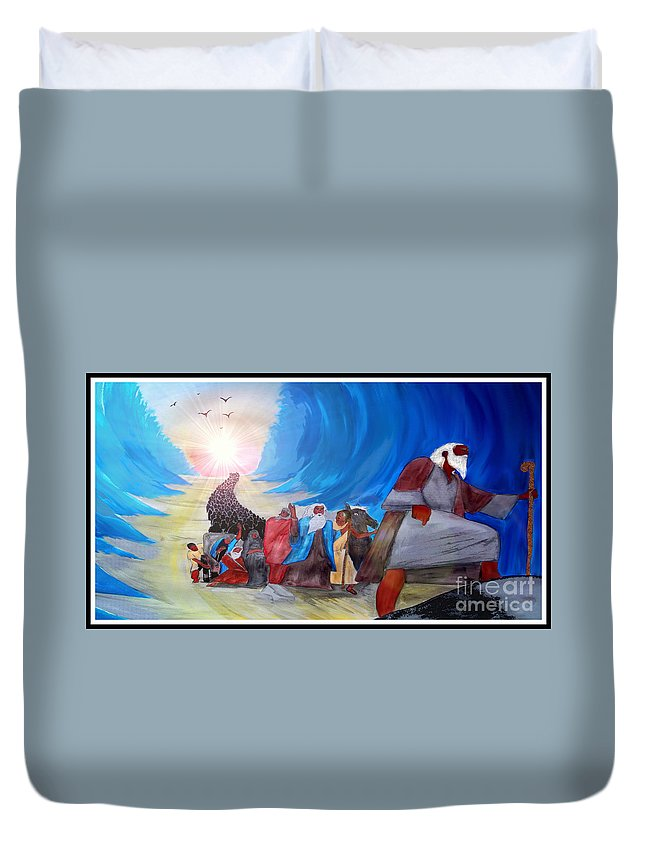 Justin Moore Duvet Cover featuring the painting Moses Through The Red Sea by Justin Moore