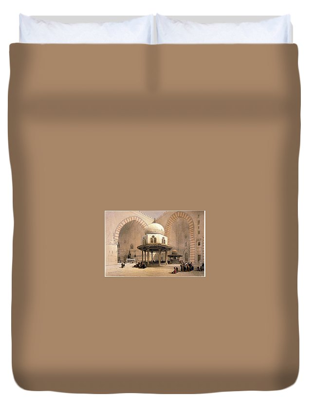 Mosque Of Sultan Hassan Duvet Cover featuring the painting Mosque Of Sultan Hassan by MotionAge Designs