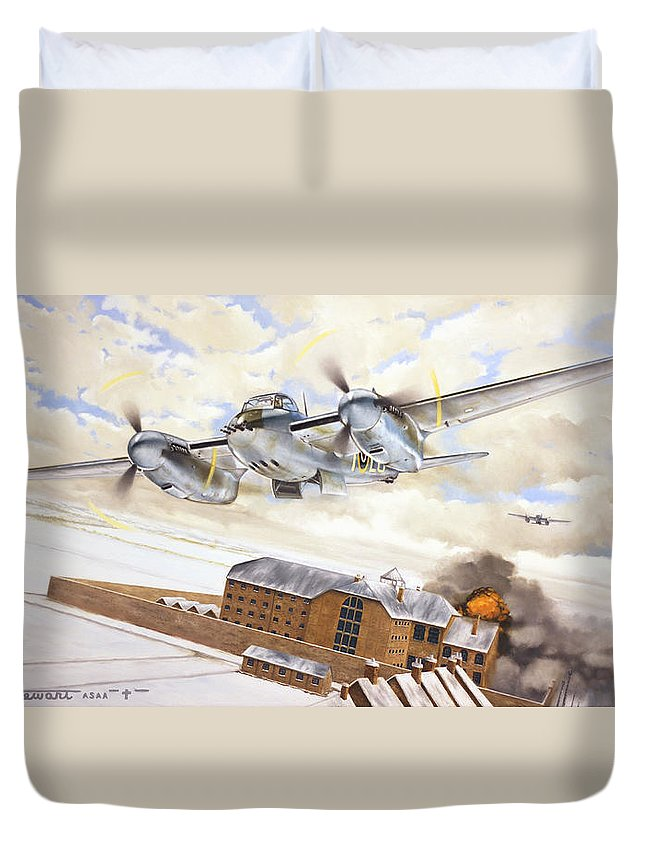 Aviation Duvet Cover featuring the painting Mosquitoes Over Jericho by Marc Stewart