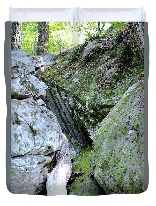 Moss Rock 2 Duvet Cover featuring the photograph Moss Rock 2 by Maria Urso