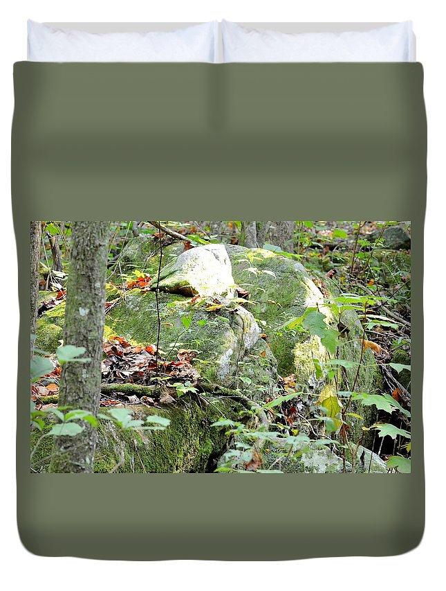 Moss Rock 3 Duvet Cover featuring the photograph Moss Rock 3 by Maria Urso