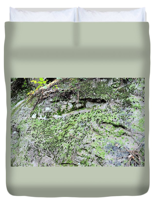 Moss Rock Duvet Cover featuring the photograph Moss Rock by Maria Urso