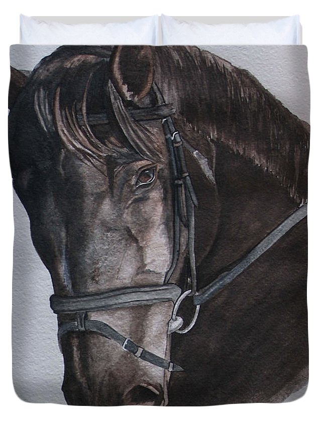 Horse Duvet Cover featuring the painting Mossandi Darwin by Tracey Beer