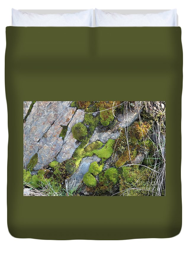 Moss Duvet Cover featuring the photograph Mossy Rocks by Leone Lund