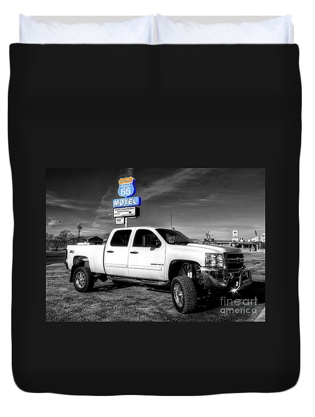Chevy Duvet Cover featuring the photograph Motel Pickup by Rob Hawkins