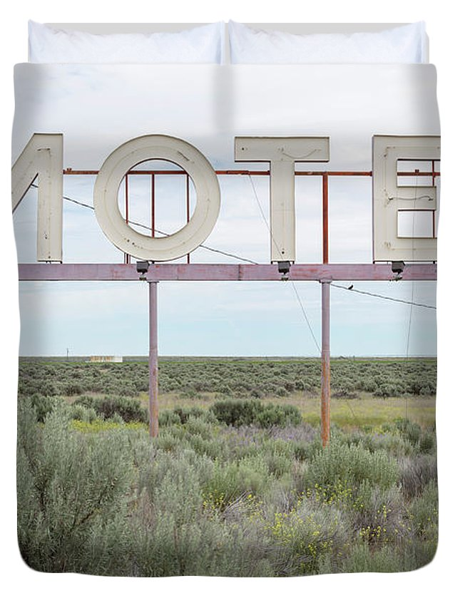 Grass Duvet Cover featuring the photograph Motel Sign In Field Of Sage Brush, Out by Mint Images