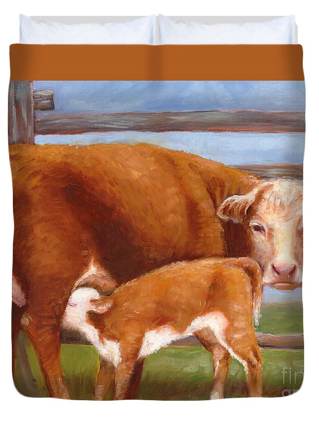 Bovine Duvet Cover featuring the painting Mother And Baby Cow by Audrey Peaty