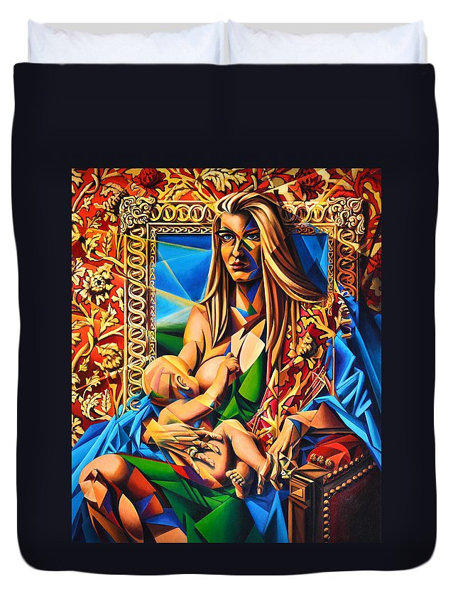 Girl Duvet Cover featuring the painting Mother And Child by Greg Skrtic