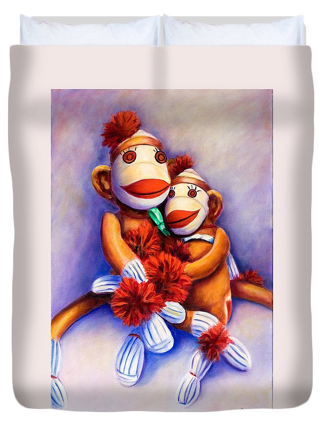 Children Duvet Cover featuring the painting Mother And Child by Shannon Grissom
