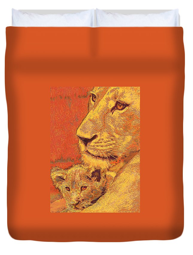 Lion Duvet Cover featuring the digital art Mother And Cub by Jane Schnetlage