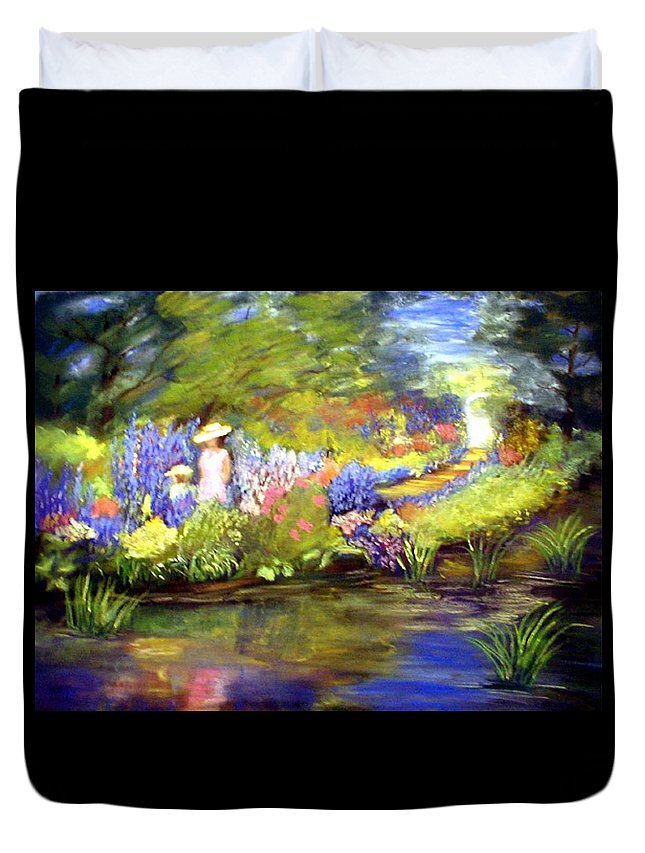 Flower Garden Duvet Cover featuring the painting Mother And Daughter by Gail Kirtz