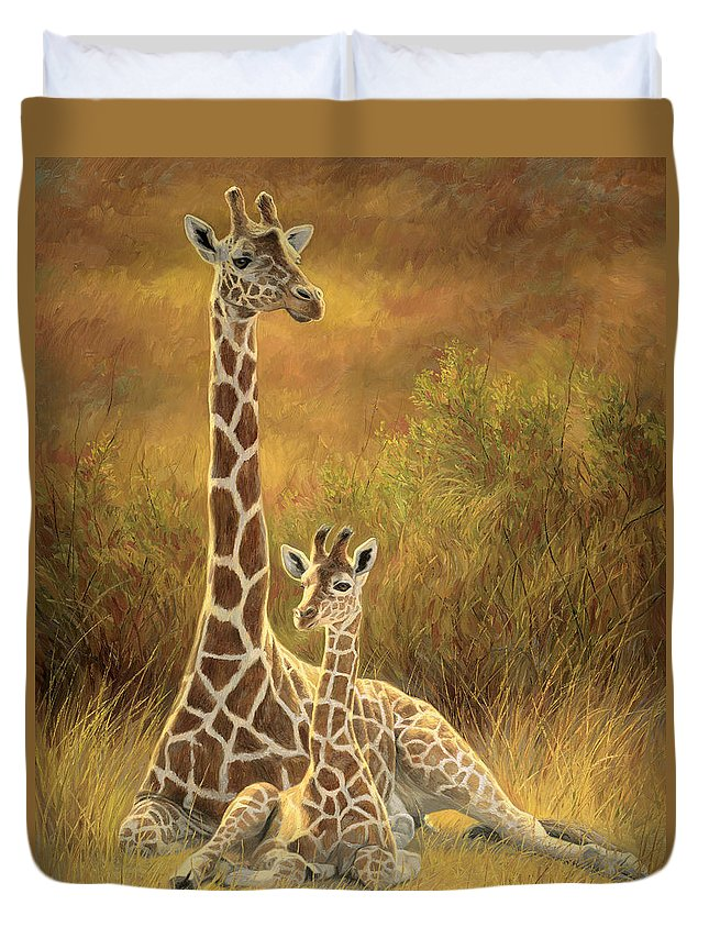 Giraffe Duvet Cover featuring the painting Mother And Son by Lucie Bilodeau