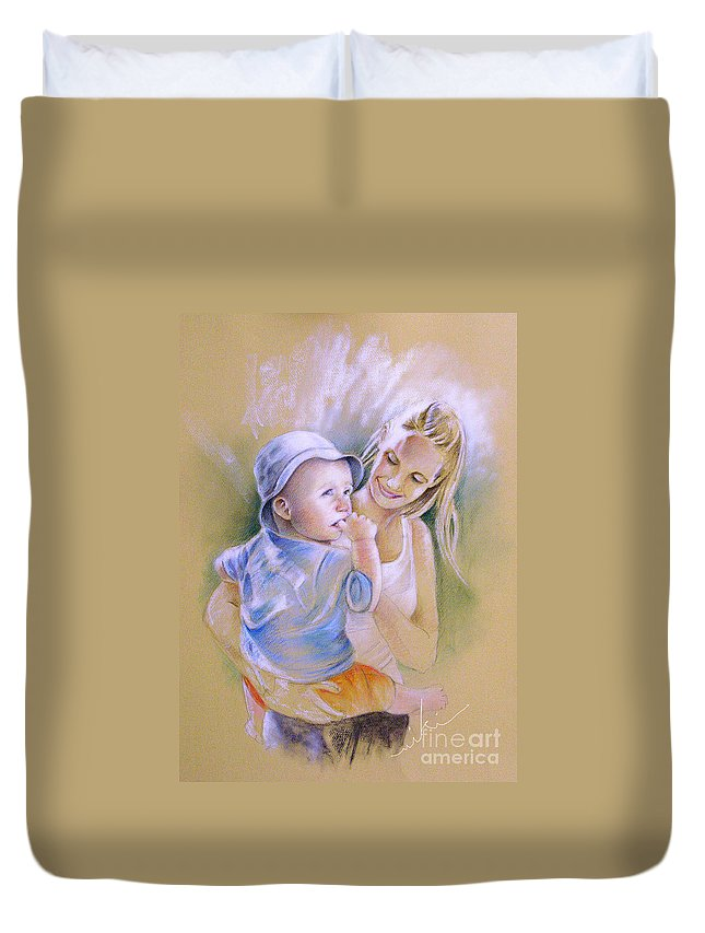 Portrait Duvet Cover featuring the painting Mother And Son by Miki De Goodaboom