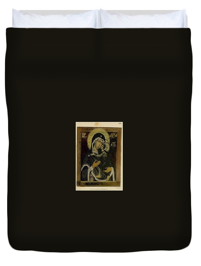 Mother And Son Duvet Cover featuring the painting Mother And Son by MotionAge Designs