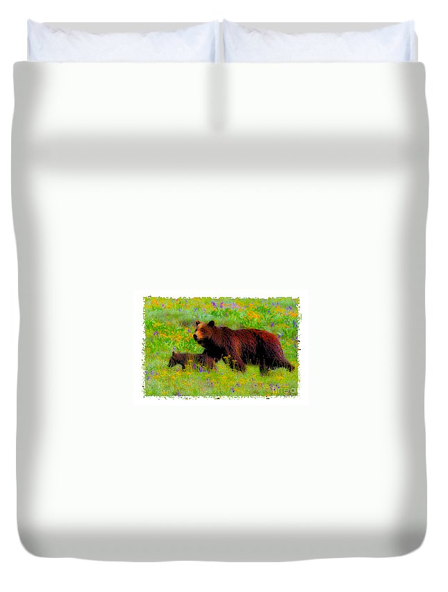 Bear Family Duvet Cover featuring the photograph Mother Bear And Cub In Meadow by Jerry Cowart