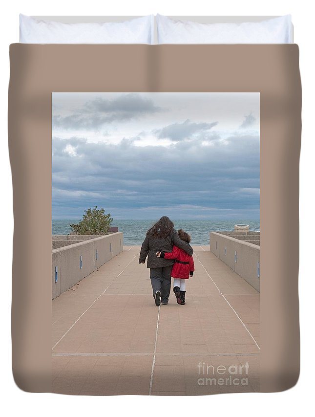Mother Duvet Cover featuring the photograph Mother Daughter Moment by Ann Horn