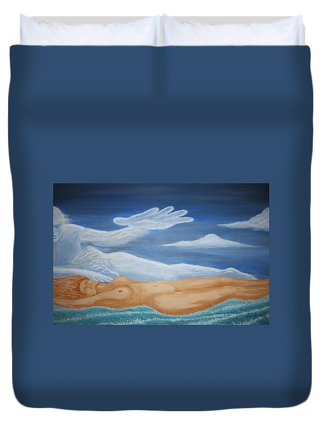 Fantasy Duvet Cover featuring the painting Mother Earth by Glenn Scano