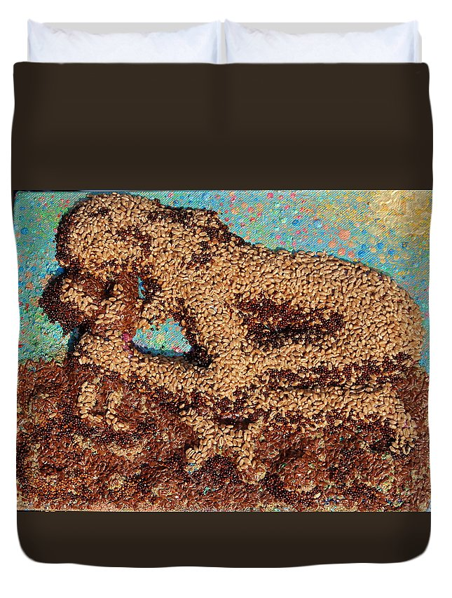 Mother And Child Duvet Cover featuring the mixed media Mother Earth IV by Naomi Gerrard