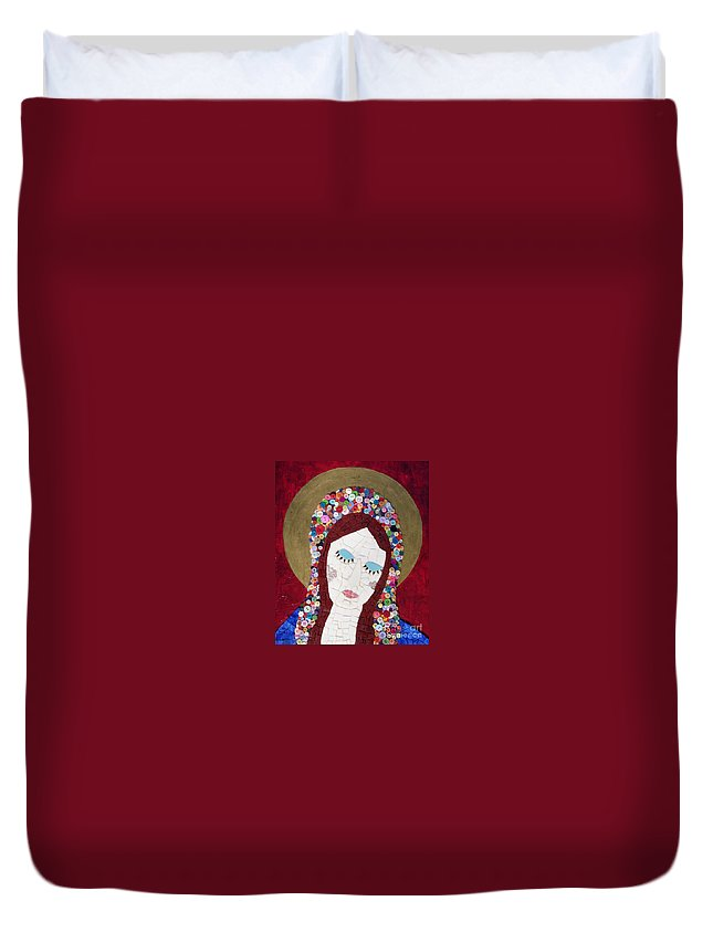 Blessed Mother Duvet Cover featuring the photograph Mother Knows Best by Valerie Fuqua