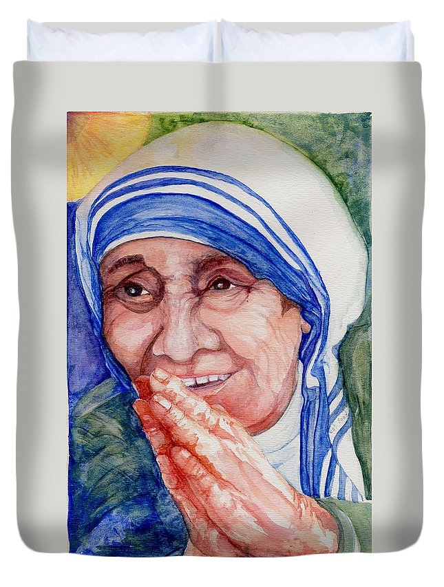 Elle Fagan Duvet Cover featuring the painting Mother Teresa by Elle Smith Fagan