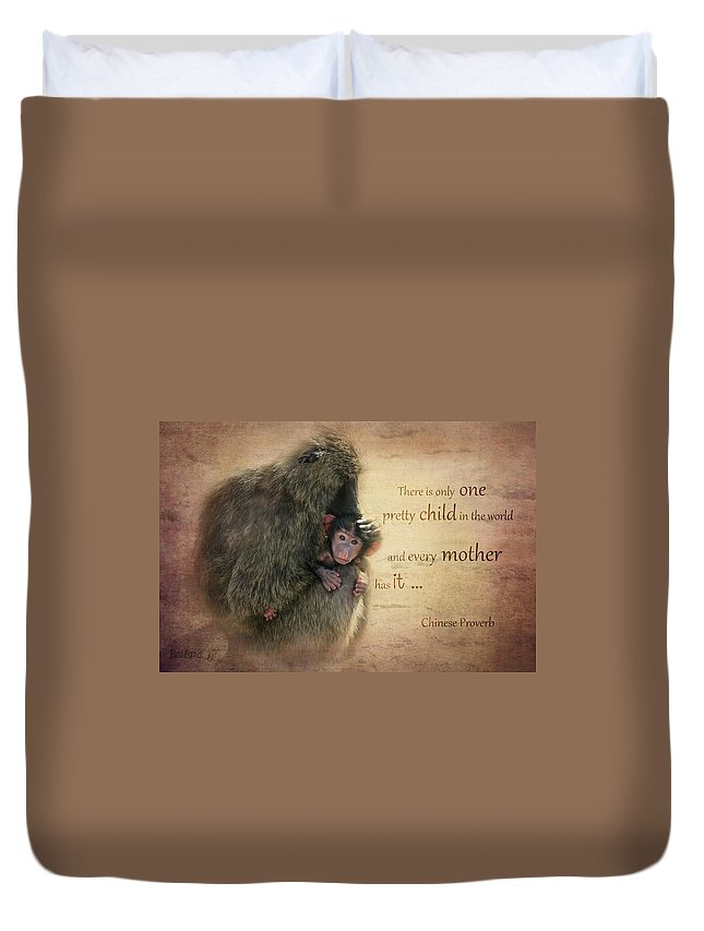 Monkey Duvet Cover featuring the photograph Mother's Love by Barbara Orenya