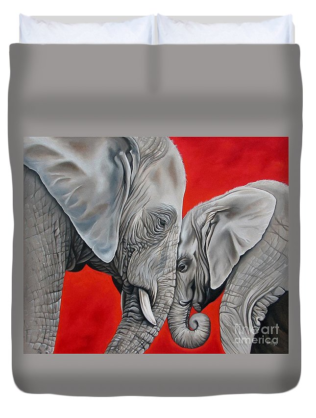 Elephant Duvet Cover featuring the painting Mothers Love by Ilse Kleyn