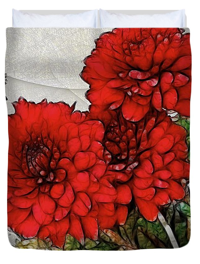 Chrysanthemums Duvet Cover featuring the painting Motif Japonica No. 7 by RC DeWinter