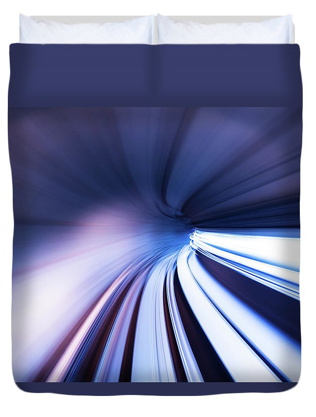 Curve Duvet Cover featuring the photograph Motion Tunnel by Loveguli