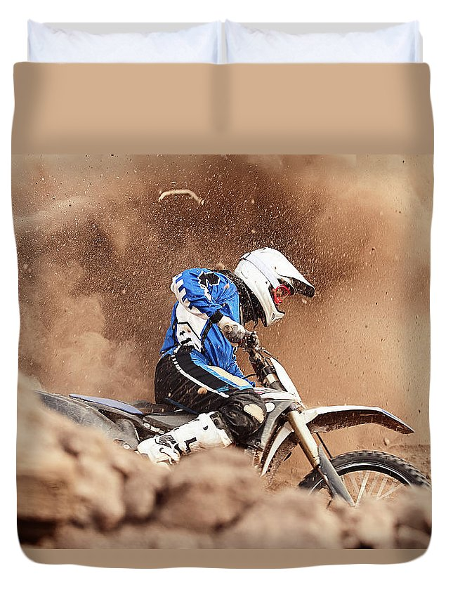 Crash Helmet Duvet Cover featuring the photograph Motocross Biker Taking A Turn In The by Daniel Milchev