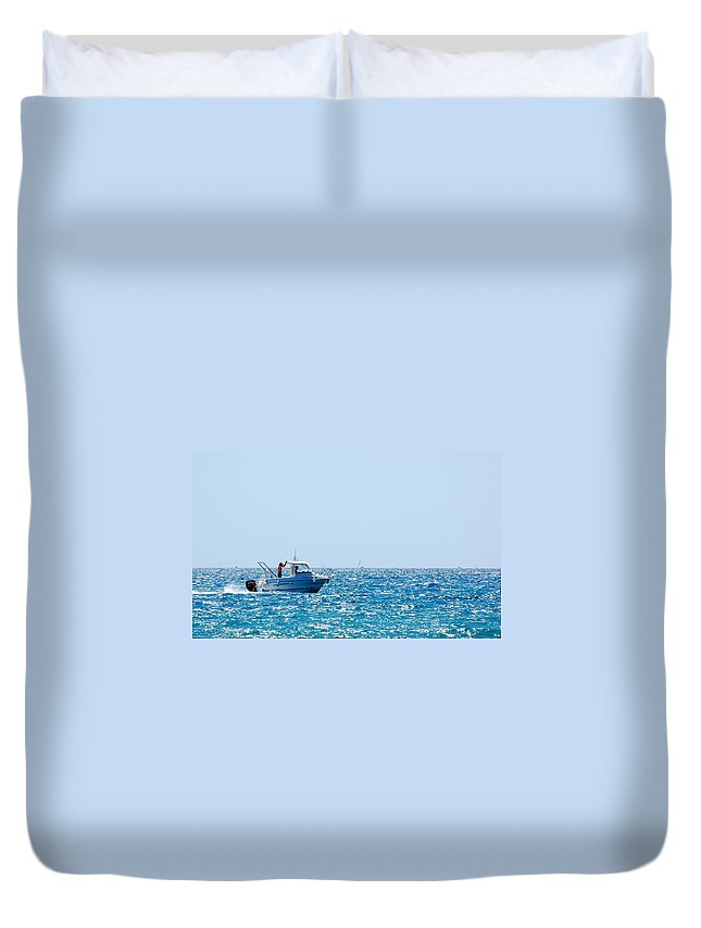 Motorboat Duvet Cover featuring the photograph Motorboat by Gina Dsgn