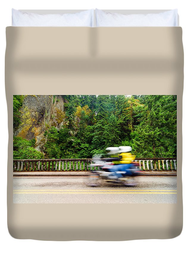 Motorcycle Duvet Cover featuring the photograph Motorcycle And Green Forest by Jess Kraft