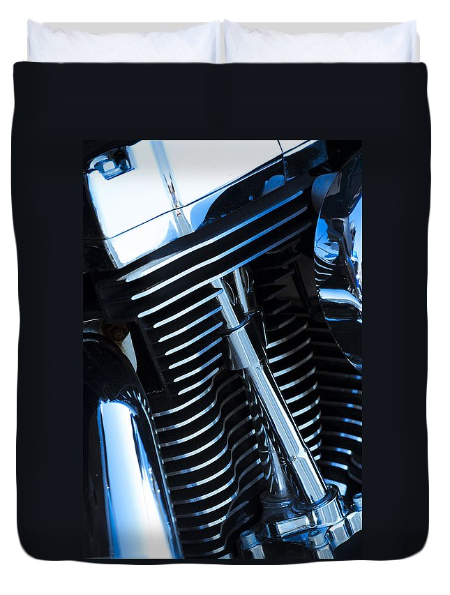 Motorcycle Duvet Cover featuring the photograph Motorcycle Engine by Alexey Stiop