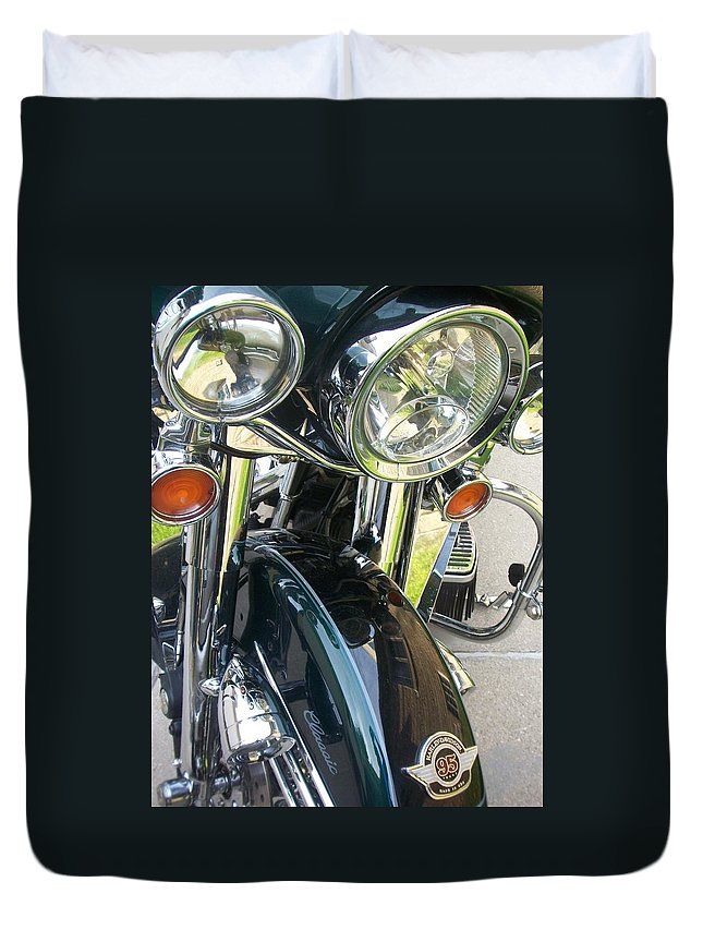 Motorcycles Duvet Cover featuring the photograph Motorcyle Classic Headlight by Anita Burgermeister