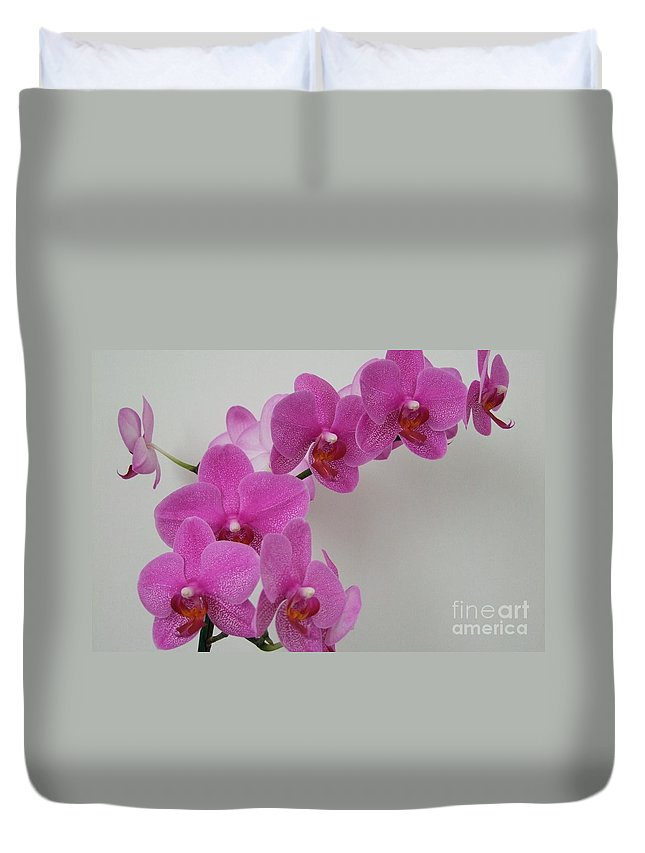 Pink Duvet Cover featuring the photograph Mottled Orchid 1 by Mary Deal
