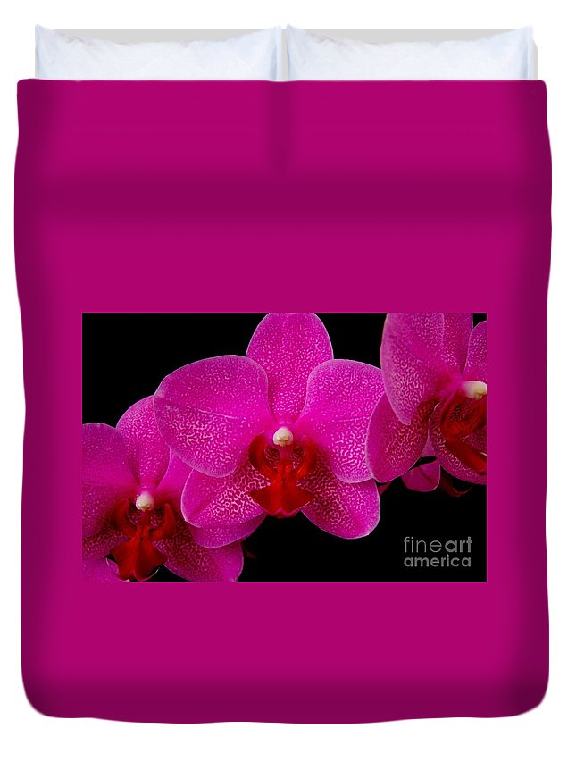 Pink Duvet Cover featuring the photograph Mottled Orchid 8 by Mary Deal